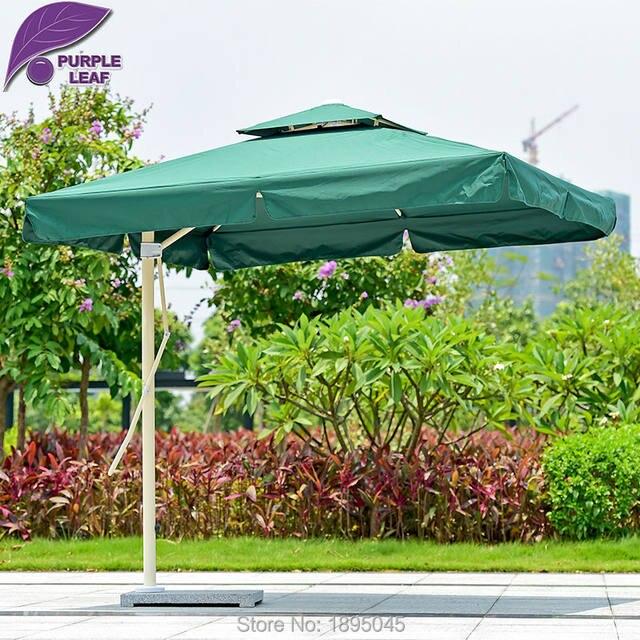 Purple Leaf Patio Umbrella Offset 7.2ft Umbrella Outdoor Market Beach Cafe  Parasol Round/Square 4 Ribs Iron UV Resistant