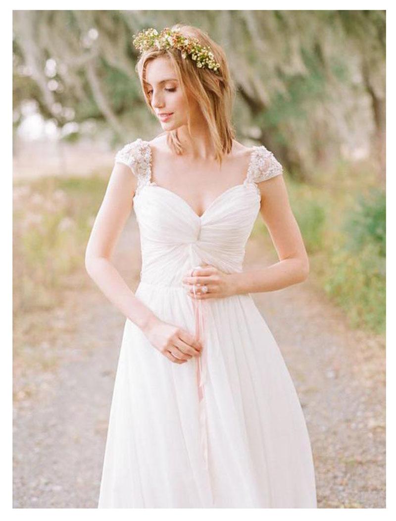 Купить с кэшбэком SoDigne 2019 Appliques Chiffon Wedding Dresses Sweetheart Neck Simple Sleeveless Bride dress A-Line Elegant Design Dresses