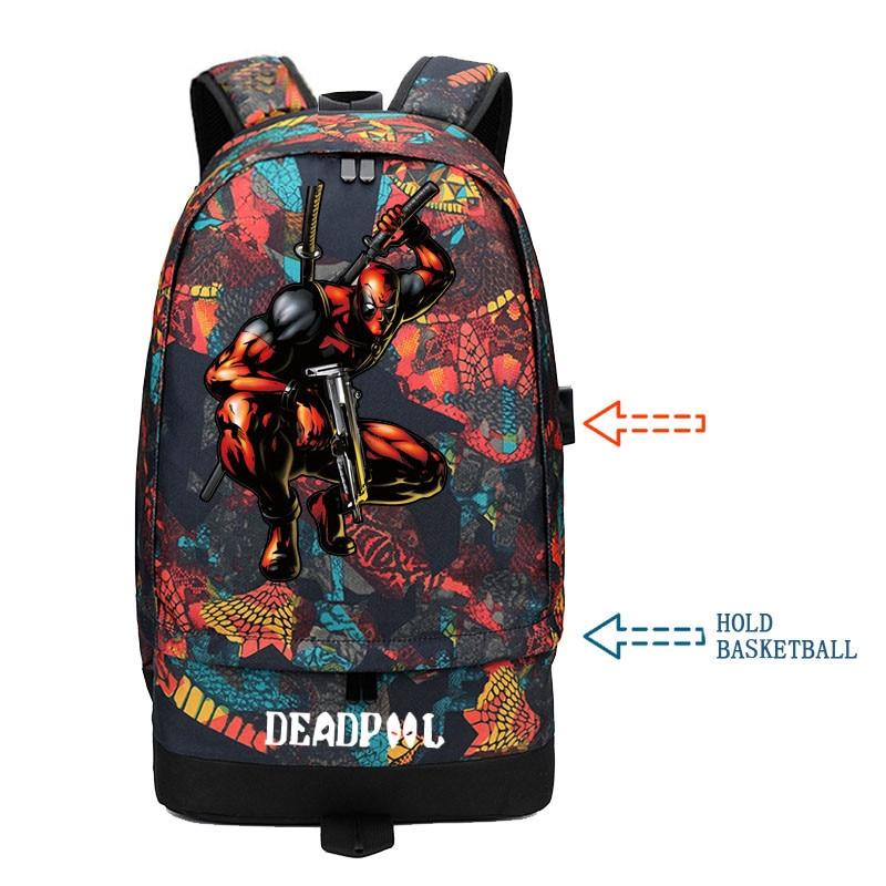 d3893ca7998b Высокое качество 2019 Новый супергерой Дэдпул печати путешествия рюкзак для  мужчин баскетбольные сумки Street Стиль Холст школьные ранцы Rugzak