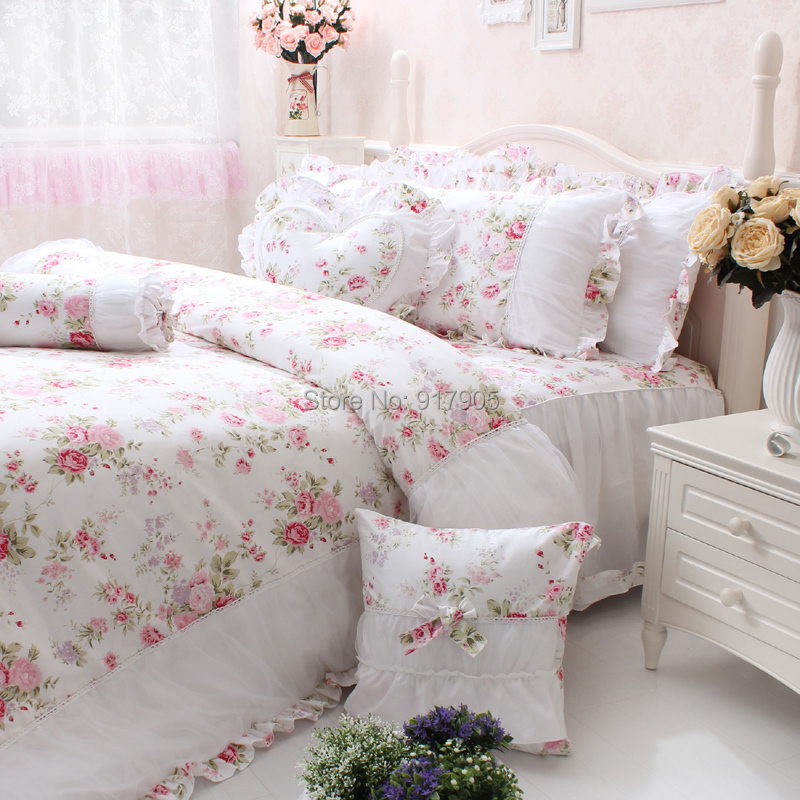 Shabby Chic Bedrooms Adults: Elegant Pink Rose Print Girls Bedding Set Full Size