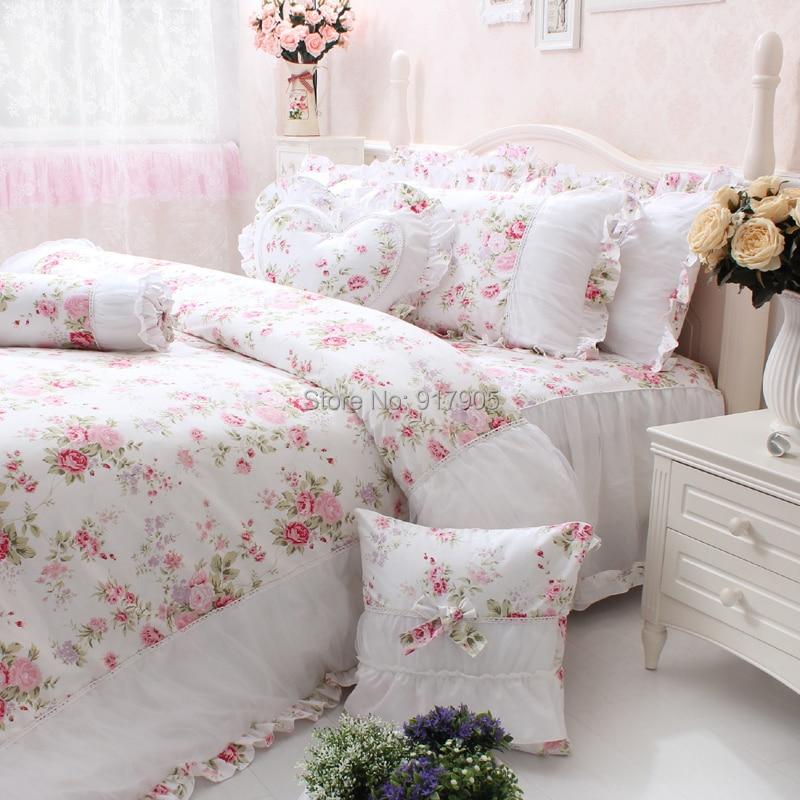 Elegant Pink Rose Print Girls Bedding Set Full Size