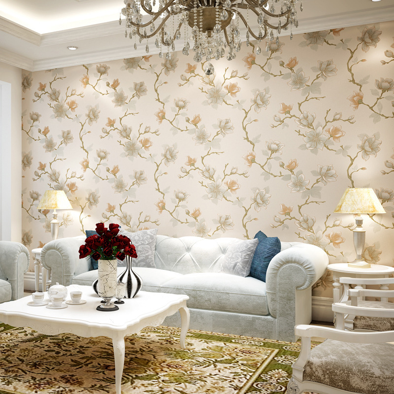 ФОТО beibehang New American Retro Pastoral Non - Woven Wallpaper Bedroom Bedside Living Room Restaurant Background Full of wallpaper