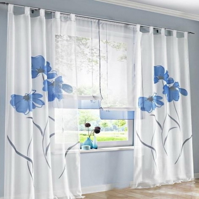 Urijk White Slippers Trimeeon Pure Handmade Curtains Past Spray Flower For Living Room Bedroom Balcony Study