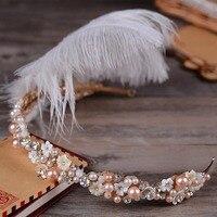 Moda yeni imitasyon inci elmas tüy kafa gelin gelinlik headdress saç aksesuarları Türük toptan