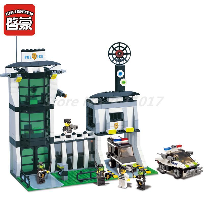 где купить ENLIGHTEN 129 Building Block City Police Station Diot Tracking Office Action Figure 589pcs Bricks Toys For Children Christmas по лучшей цене