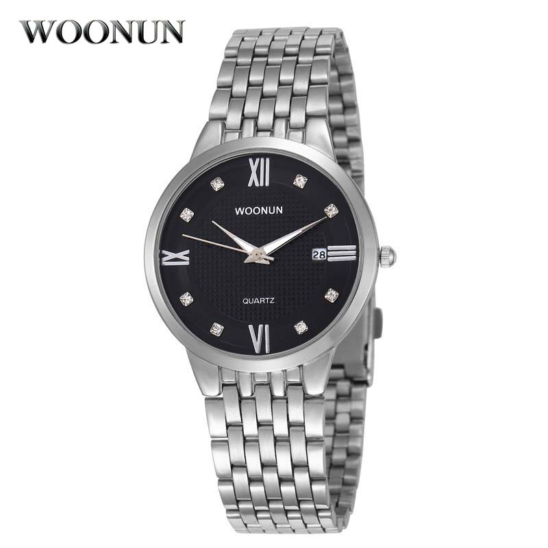 WOONUN Top Brand Luxury Fashion Ultra Thin Watches For Men Roman Style Silver Steel Band Rhinestone Diamond Quartz Watches MenWOONUN Top Brand Luxury Fashion Ultra Thin Watches For Men Roman Style Silver Steel Band Rhinestone Diamond Quartz Watches Men