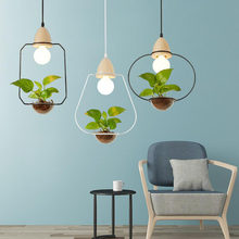 American Plant Pot Pendant Lamp Restaurant Dinning Room Pendant Light Black White Color Wood Pendant Lighting with glass(China)
