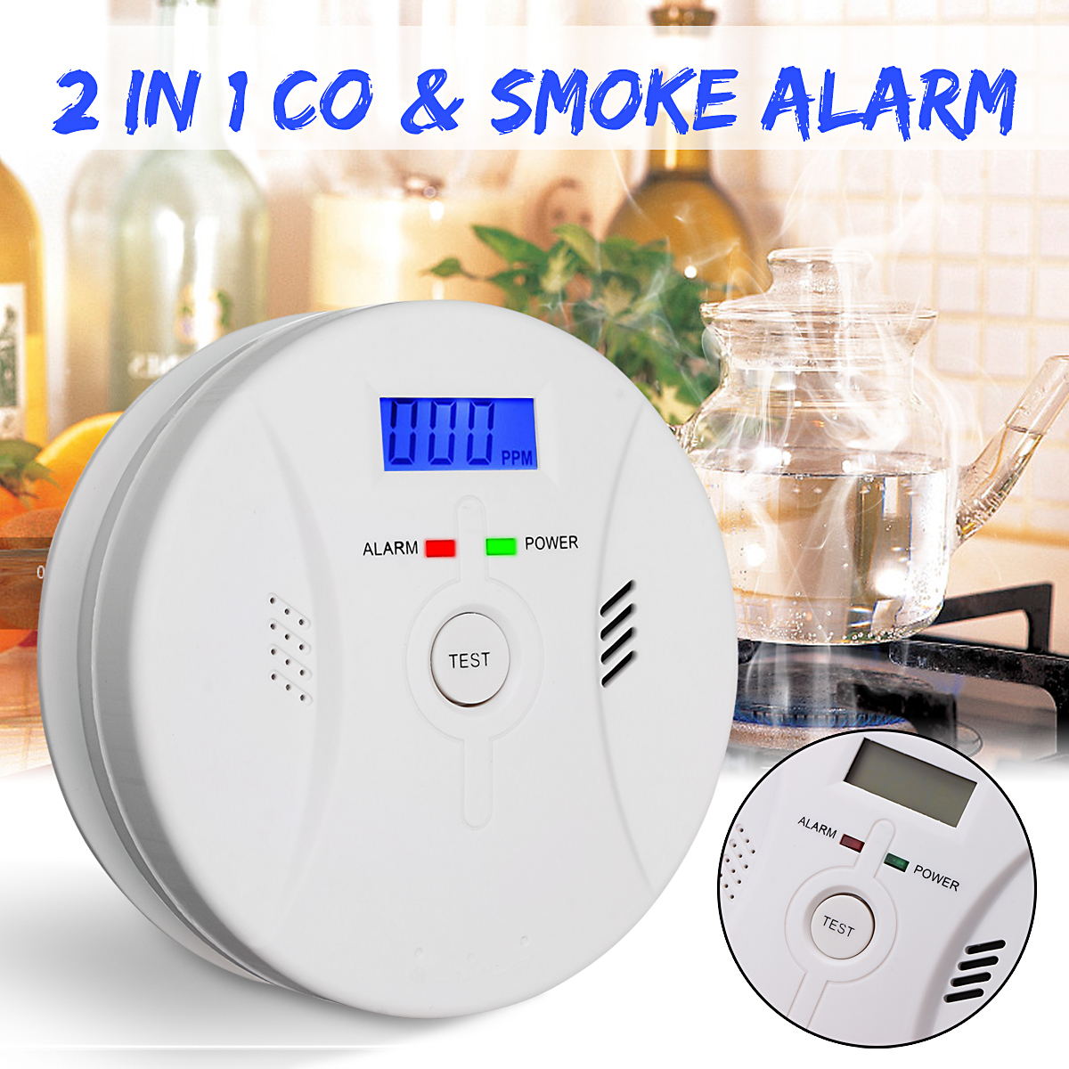 Home Safety CO Carbon Monoxide Smoke Detector High Sensitivity Sensor Warning Gas Fire Alarm Sound Combo Battery Operated цена
