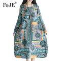 F & je nova primavera 2017 das mulheres retro arte impressão de algodão solto dress femme femme roupas casuais plus size vestidos vestidos j477