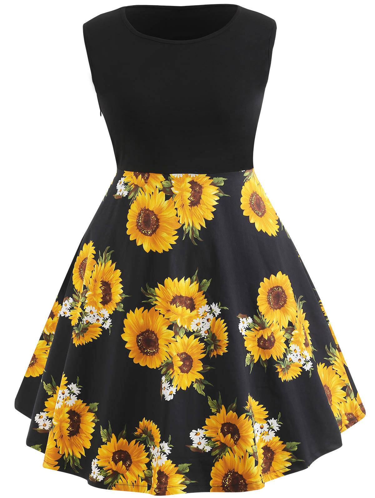 ba5c6a017c59 ... Wipalo Sleeveless Plus Size Sunflower Print Vintage Dress Patchwork  Casual Black Dress Women A Line Floral ...