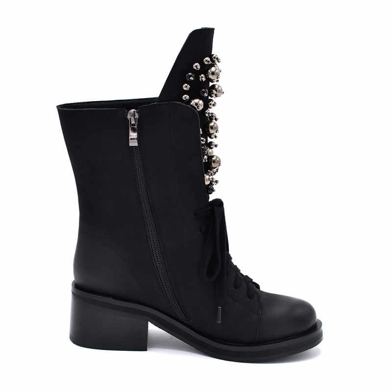 Odetina Moda Marka Kış Orta Buzağı Çizmeler Kadın Yuvarlak Ayak Kare Yüksek Topuk Rusya Kar Botları Lace Up Dize Boncuk sıcak ayakkabı