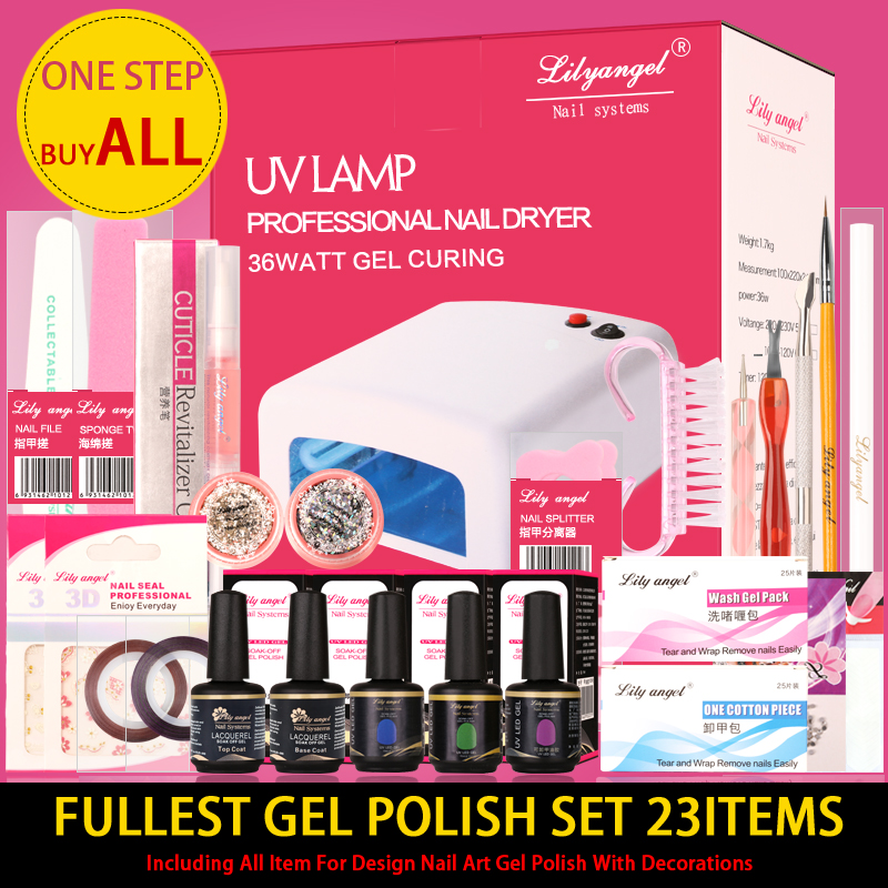 Lily angel UV Lamp Nail Dryer LED Manicure Sets 23 Item Includ 15ML Base top coat Color Gel Polish Manicure Tools Kit Sets cnhids in 36w uv lamp 7 of resurrection nail tools and gortable package five 10 ml soaked uv glue gel nail polish