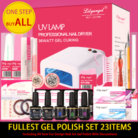 Lily angel UV Lamp Nail Dryer LED Manicure Sets 23 Item Includ 15ML Base top coat Color Gel Polish Manicure Tools Kit Sets