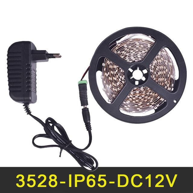 LED Strip Light Waterproof IP65 SMD3528 300LEDs 5m Flexible Stripe String Light LED Tape Ribbon Lamp Power Supply 2A DC12V EU/US
