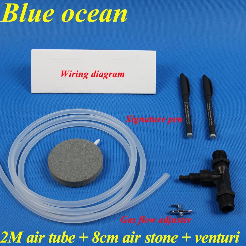 BlueOcean BO-01Cadeaus, 2M luchtslang + 8cm luchtsteen + Venturi + Gasstroomregelaar + Signatuurpen + Aansluitschema voor onderdelen van ozongenerator