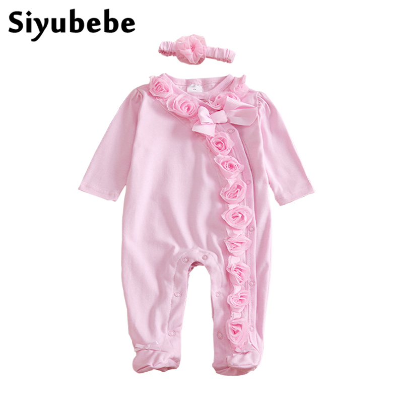 Newborn Baby Girl Clothes Set Princess Lace Foral Romper With Headband Long Sleeve Jumpsuit Cotton Infant Ropa Bebe Girl Rompers newborn baby girl clothes air cotton winter thicken coveralls rompers princess lace infant girls clothing set jumpsuit hats