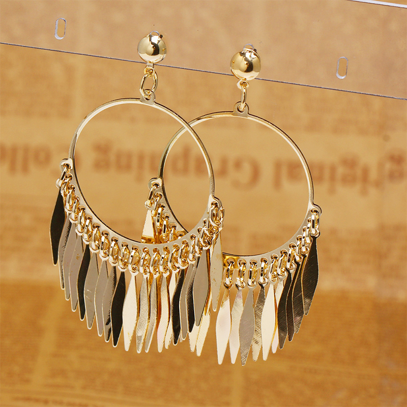 Fashion new girls earrings gold plated hoop earrings exaggerated ...