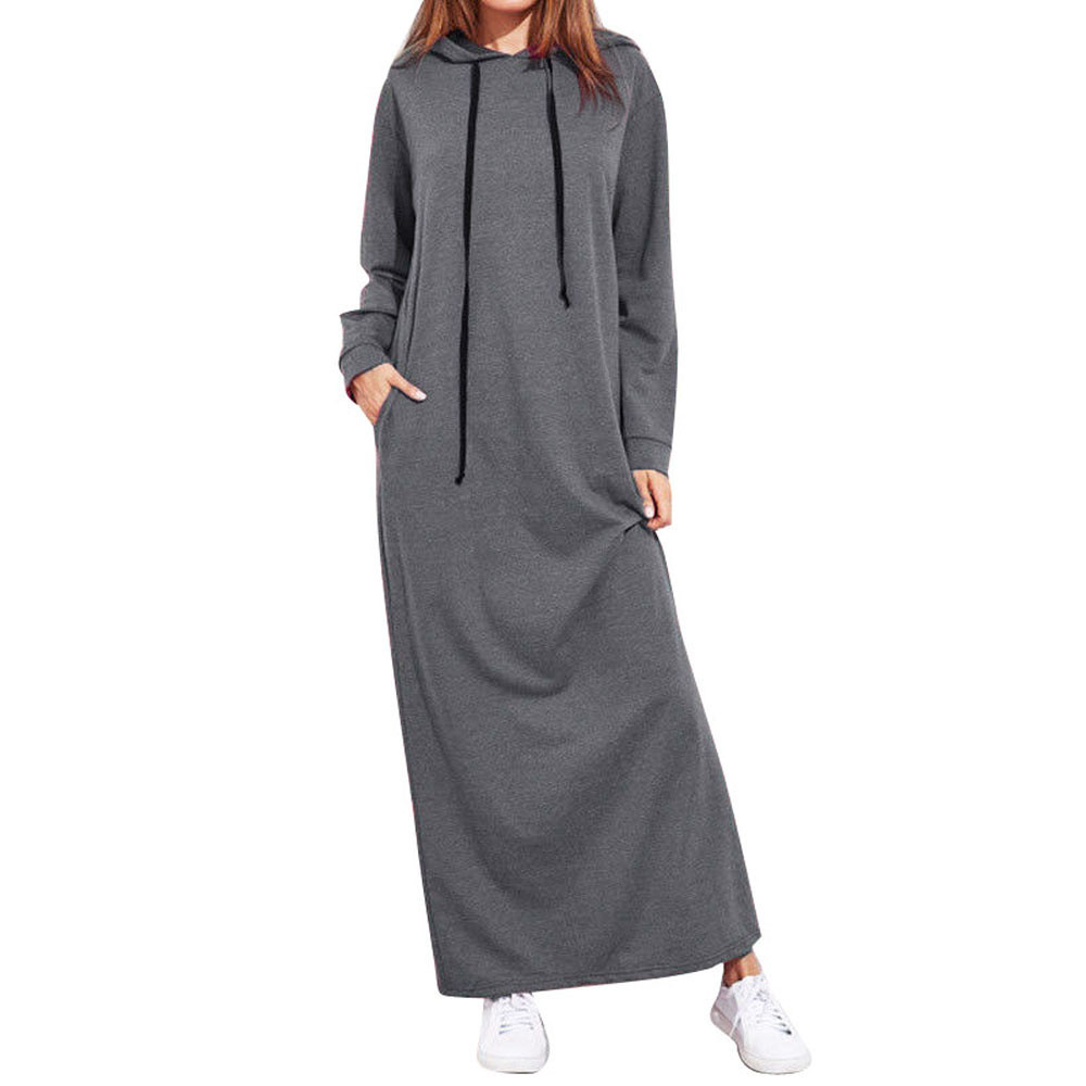 Women Maxi Dress Hoodies Dress Winter Warm Long Sleeve Hooded Casual Long Sweatshirt