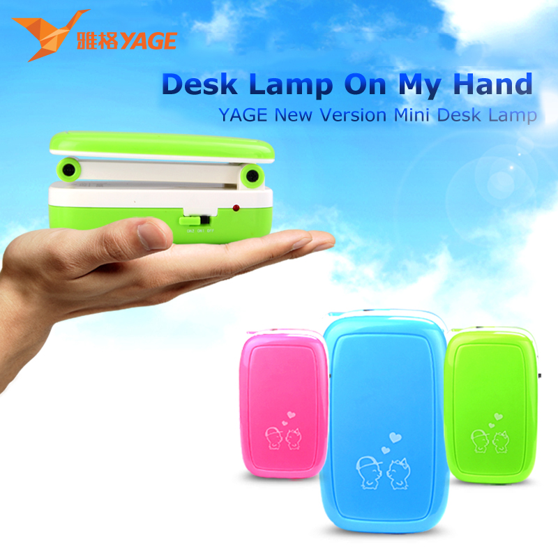 YAGE 5918 led desk lamp 2 Modes 1.6W/90V240V Mini table lamp 2-layer Foldable Body USA/EU/UK Plug Blue/Green/Pink color for work