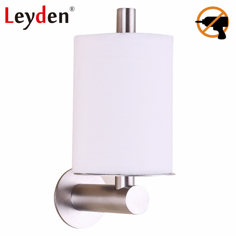 Leyden Toilet Tissue Holder Toilet Paper Holder Stainless Steel 3M Adhesive Brushed Nickel WC Paper Holder Bathroom Accessories everso wall mounted toilet paper holder with shelf stainless steel toilet roll paper holder tissue holder bathroom accessories