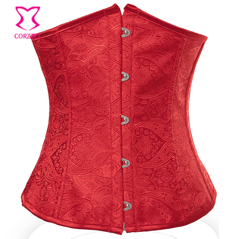 Red Paisley Pattern   Bustier     Corset   Underbust Waist Slimming   Corsets   Women Corsetto Sexy Espartilhos E Corpetes Gothic Clothing