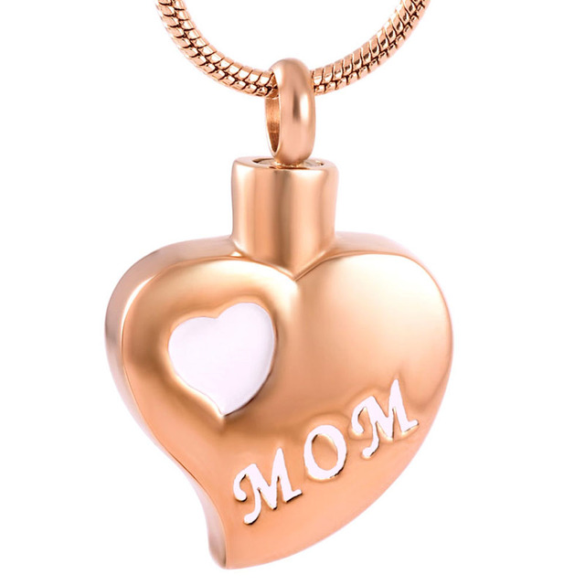 Mom in Stainless Steel Heart Urn Necklace