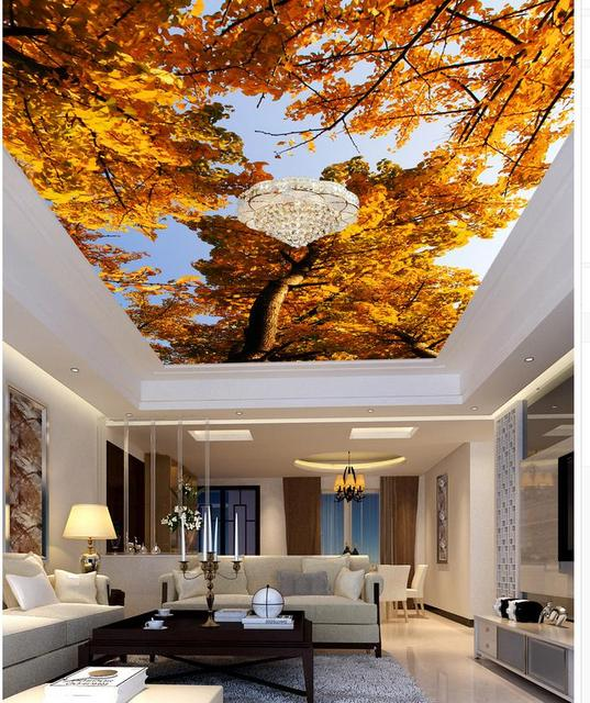 All White With Gold Leaf Ceiling And Degournay Coco: 3d Wallpaper Landscape Ceilings Gold Maple Leaf Blue Sky