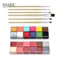 IMAGIC Halloween Body Paint Professional Face Oil 2pcs 12 Color Body Painting Art Party Make Up + 6pcs/set Paint Brush