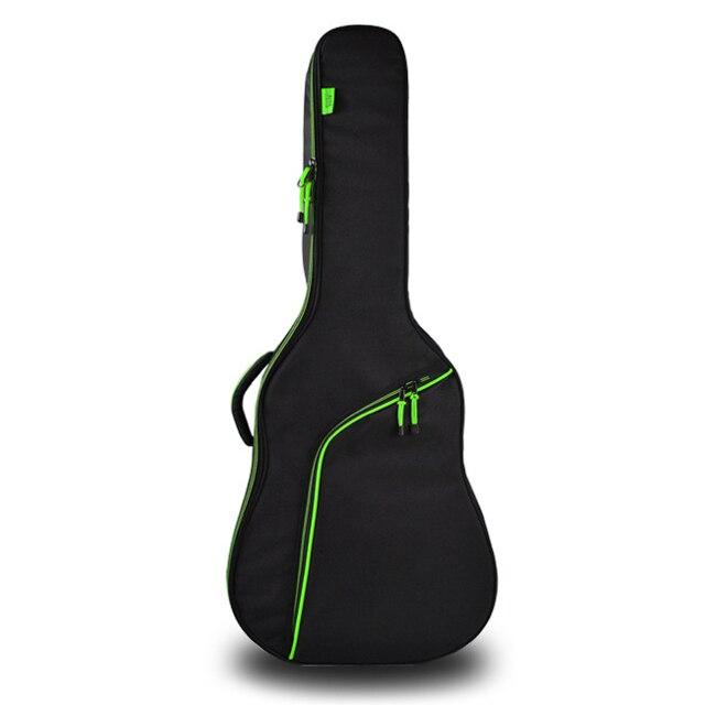 HOT-Engrossar Aço-Corda Da Guitarra Clássica Saco Caso Mochila Guitarra Baixo Acessórios Peças Carregam 41 Preto + Verde polegada