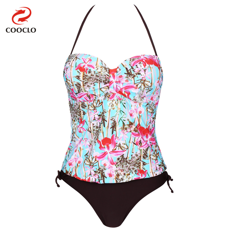 COOCLO Women Swimwear Beachwear Two Pieces Tankini Floral Print Push up Swimsuit Halter Bathing Suit for Women Brazilian Bottom halter print tankini set