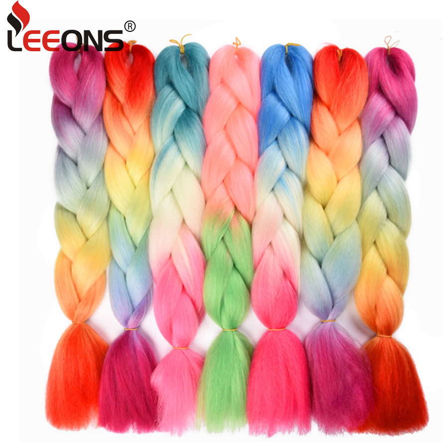 Leeons 100g 24 Inch Jumbo Braid Crochet Hair Extension For Braids Rainbow Braiding Hair Pre Stretched Braiding Hair For Girl