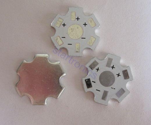 20mm 1W 3W 5W High Power LED White Heat Sink Aluminum Base plate Star 100pcs