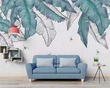 beibehang Modern minimalistic hand drawn watercolor plant leaves Nordic background three-dimensional papel de parede wallpaper