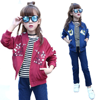 Girls Bomber Jackets Spring Embroidery Floral Nylon Jacket Kids Red Coat For Girls Casual Children Outerwear