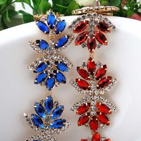 1yard Colorful Crystal Rhinestone Cup Chain Applique Embellishment Trims For Bridal Wedding Costume Sewing