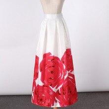 2c519e6ab1 2018 New Satin Women 100cm High Waist Flared Maxi Skirts Peach Blossom  Printed Pleated Floor Length
