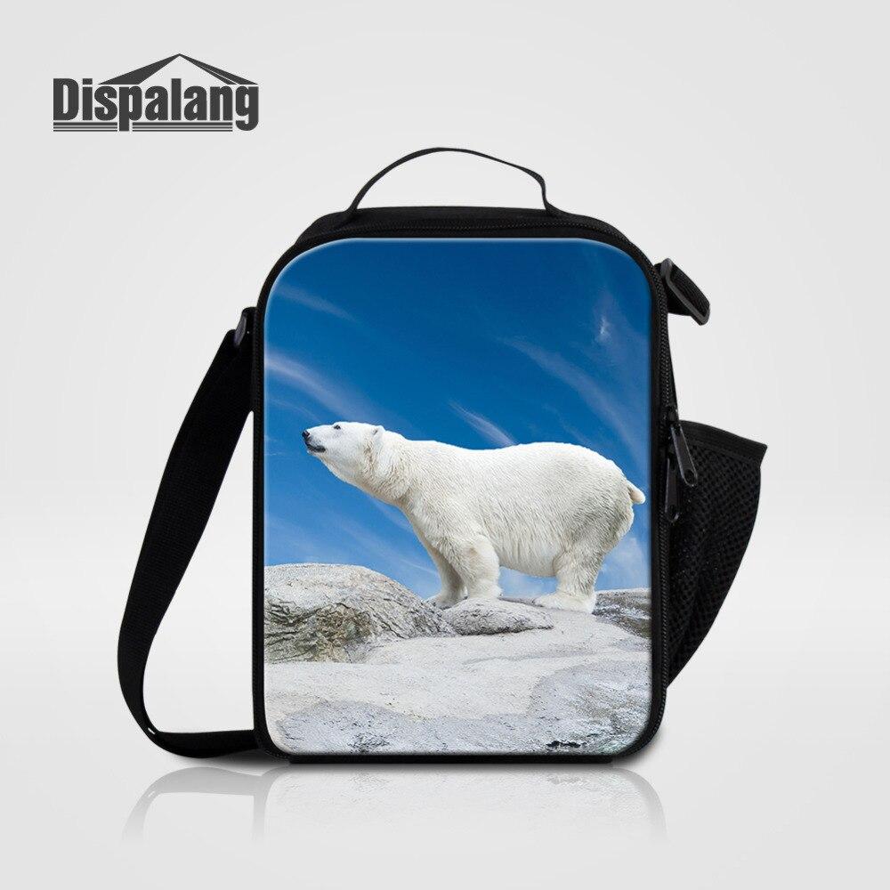 8a445f6bf61c Dispalang животных изолированные обед мешок для Для женщин сумка для детей  полярный медведь печати Термальность Пикник Еда Сумки изоляции терм.