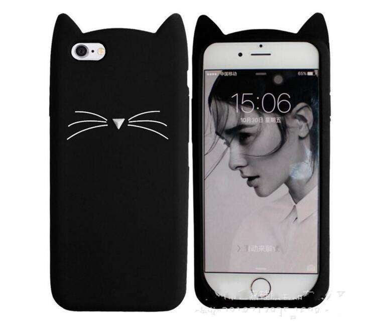 Funda de silicona 3D Cute Cat Beard para iPhone 7 Plus Adorable - Accesorios y repuestos para celulares - foto 2