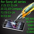 Para sony xperia z1 z2 z3 z4 z5 compact premium t3 c3 c4 c5 m2 m4 aqua m5 e3 e4 e5 9 h temperado filme tela de vidro case