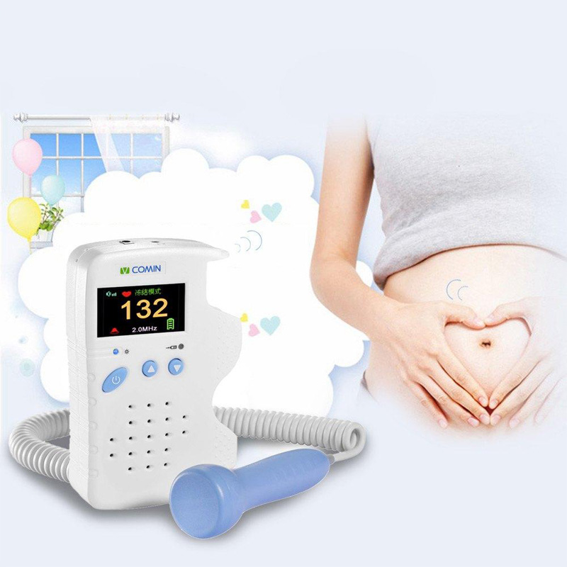 ФОТО 2.0Mhz Professinal Fetal Doppler Baby Monitor Curve Mode LCD Screen Baby Heart Rate Detector With Charger Rechargeable Battery