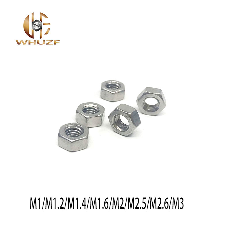 20PCS M1/M1.2/M1.4/M1.6/M2/M2.5/<font><b>M2.6</b></font>/M3 Metric thread DIN934 304 Stainless Steel Hex <font><b>Nuts</b></font> image