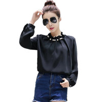 2017 Spring Long Sleeve Ruffles Collar Pleated Satin Shirts Women Pearl Chiffon Blouse Pearl Top Elegant