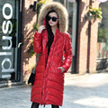 2017 fashion women's large fur collar cotton long ultra over-the-knee thickening plus size slim autumn winter women jacket coat