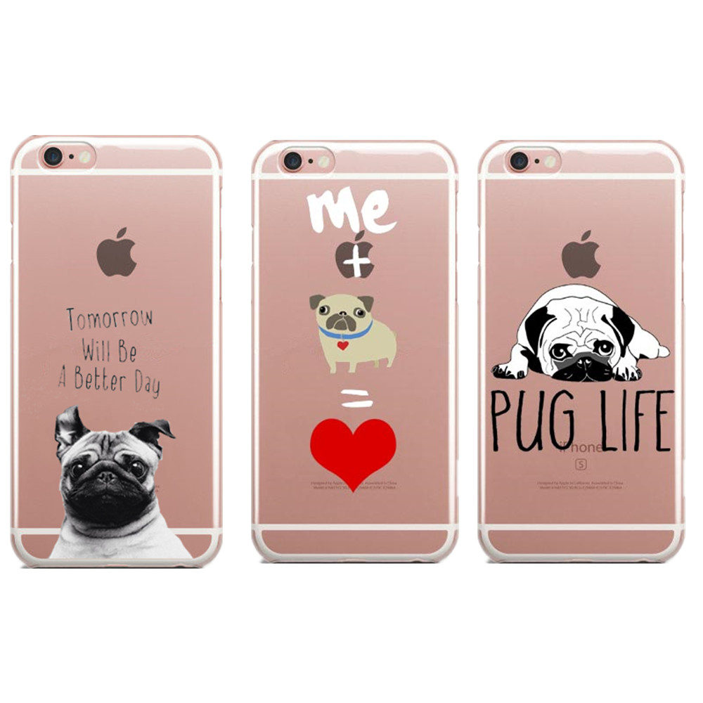 uk availability a8879 0a809 Tomorrow Will Be A Better Day Pug life Soft TPU Phone Cases For iphone 5 5S  SE 6 6s Plus 7 7Plus cartoon dog For iPhone X 8Plus