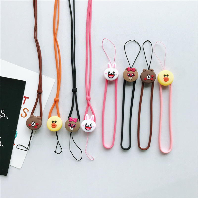 Black Cat Multi-Purpose Hand Wrist Strap with Cute Cartoon Phone Charm Elastic Silicone Lanyard Bracelet for Cell Phone iPhone Case ID Holder Name Badge Keys Keychain USB Flash Drive
