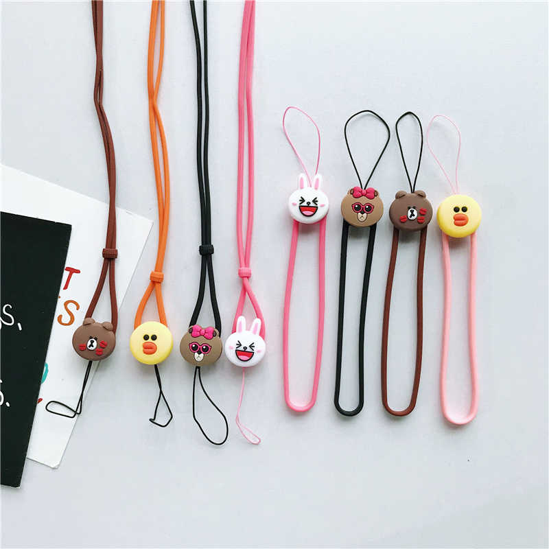 Cartoon silicone pendant anti-fall Cute Universal Mobile Phone long Neck Lanyard phone Rope hand Strap Brown Kani