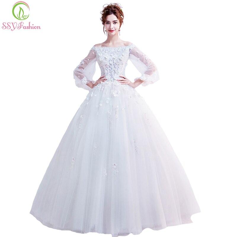 Ssyfashion Long Sleeve Wedding Dresses The Bride Elegant: SSYFashion 2018 New White Wedding Dress The Bride Boat