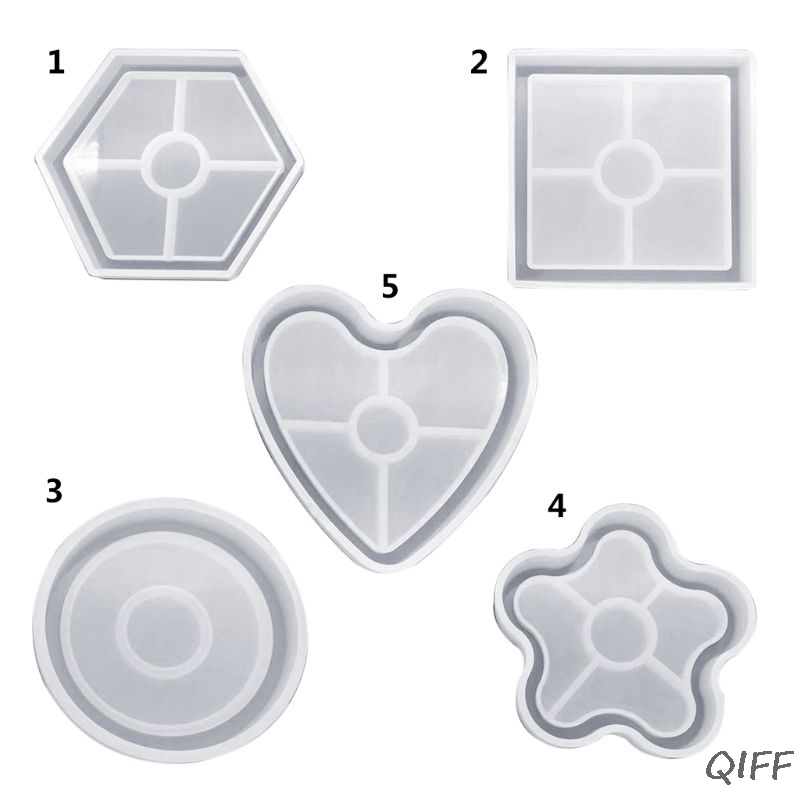 Silicone Mold DIY Cup Pad Water Cup Mat Holder Epoxy Resin Crafts Molds Handmade Charms Jewelry Gifts Floral Shape Geometric Suq