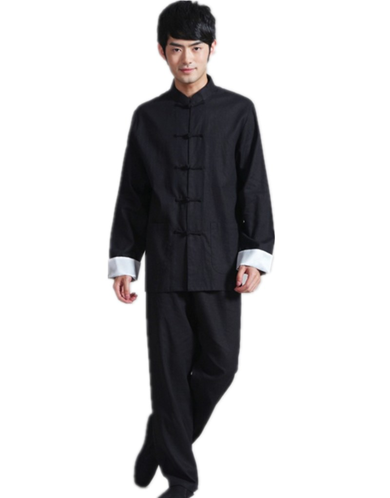 Shanghai Story Chinese Style Mandarin Collar kungfu Suit Black chinese traditional clothing Men's Cotton Linen Jacket with Pants