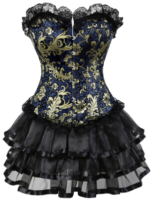 gothic gold jacquard corset lace up overbust corsets